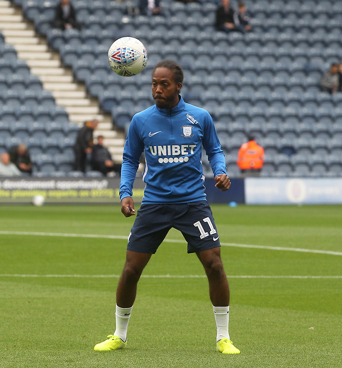 Preston North End's Daniel Johnson warms up<br /> <br /> Photographer Mick Walker/CameraSport<br /> <br /> The EFL Sky Bet Championship - Preston North End v Wigan Athletic - Saturday 10th August 2019 - Deepdale Stadium - Preston<br /> <br /> World Copyright © 2019 CameraSport. All rights reserved. 43 Linden Ave. Countesthorpe. Leicester. England. LE8 5PG - Tel: +44 (0) 116 277 4147 - admin@camerasport.com - www.camerasport.com