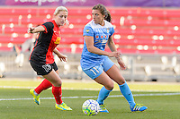 Bridgeview, IL, USA - Saturday, April 23, 2016: Western New York Flash midfielder Abigail Dahlkemper (13) and Chicago Red Stars forward Sofia Huerta (11) during a regular season National Women's Soccer League match between the Chicago Red Stars and the Western New York Flash at Toyota Park. Chicago won 1-0.