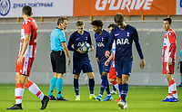 6th November 2019; Vozdovac Stadium, Belgrade, Serbia; UEFA Under 19 UEFA Youth league football, FK Crvena Zvezda under 19s versus Tottenham Hotspur under 19s; Harvey White and J'Nell Bennett of Tottenham Hotspurs FC talk with the referee about a decision and ball placement
