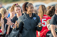 Boston, MA - Saturday April 29, 2017: Abby Smith and fans during a regular season National Women's Soccer League (NWSL) match between the Boston Breakers and Seattle Reign FC at Jordan Field.