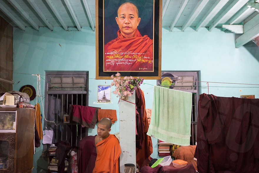 October 27, 2015 - Mandalay (Myanmar). One of the painting of U Wirathu hang inside his office in Masoeyain monastery. The monk is the deputy leader of Ma Ba Tha, the ultra-nationalist Buddhist group of monks that has been whipping up anti-Muslim sentiment ahead of the polls, holding huge rallies to celebrate the passage of laws that place restrictions on interfaith marriage. © Thomas Cristofoletti / Ruom