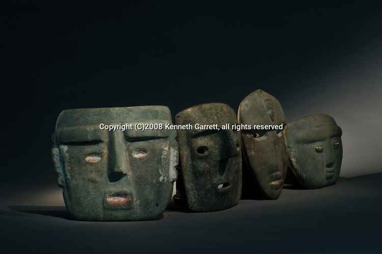 Greatest Aztecs, MM7677,  Mexico City, Mexico, Templo Mayor Museum, Leonardo Lopez Luhan with Eduardo Matos Moctezuma and Tlatecuhtli, Xicuiticutli, Green stone masks