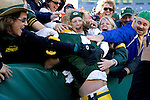 Quarterback Brett Favre #4 of the Green Bay Packers does the Lambeau Leap for the first time in his career during an NFL football game against the Arizona Cardinals at Lambeau Field on October 29, 2006 in Green Bay, Wisconsin. The Packers beat the Cardinals 31-14. (Photo by David Stluka)