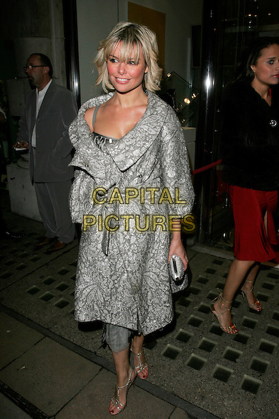 JAKKI DEGG.The White Room - charity fundraiser, Flawless & Co, New Bond Street, London, England..November 8th, 2007.full length silver bag purse clutch pattern jackie .CAP/AH.©Adam Houghton/Capital Pictures.