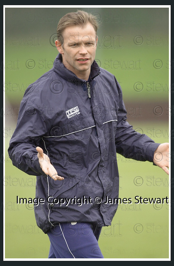 31/01/2003                   Copyright Pic : James Stewart.File Name : stewart-falkirk training 08.FALKIRK NEW BOSS JOHN YOGI HUGHES AT TRAINING TODAY....James Stewart Photo Agency, 19 Carronlea Drive, Falkirk. FK2 8DN      Vat Reg No. 607 6932 25.Office     : +44 (0)1324 570906     .Mobile  : +44 (0)7721 416997.Fax         :  +44 (0)1324 570906.E-mail  :  jim@jspa.co.uk.If you require further information then contact Jim Stewart on any of the numbers above.........