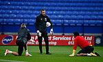 Jake Eastwood of Sheffield Utd and Jamal Blackman of Sheffield Utd warm up with coach Darren Ward during the Championship match at the Macron Stadium, Bolton. Picture date 12th September 2017. Picture credit should read: Simon Bellis/Sportimage