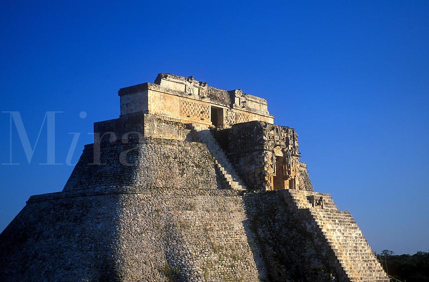 The Magician's Pyramid at Uxmal. Yucatan Peninsula. Mexico.