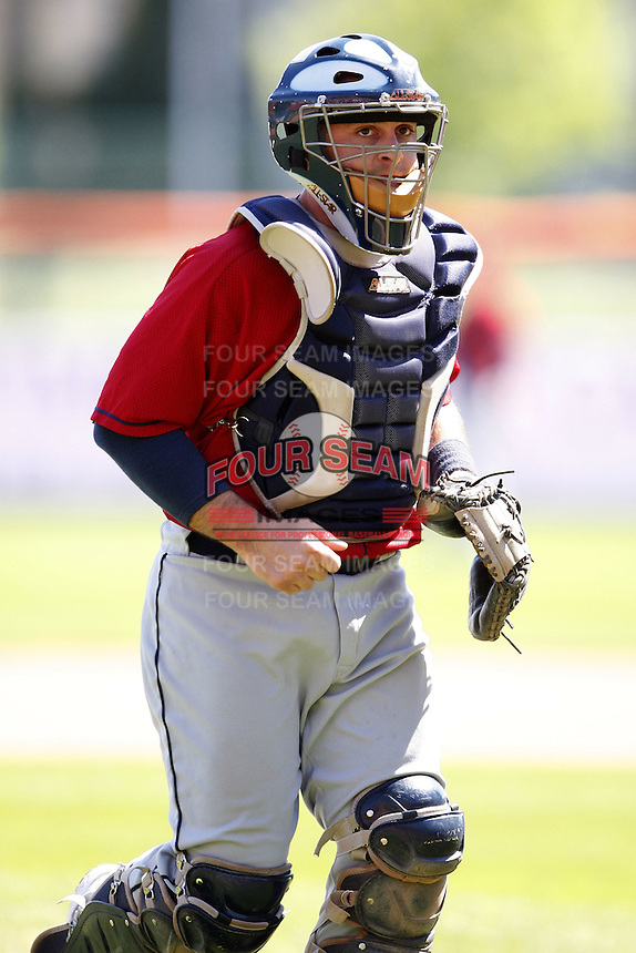 May 21, 2009:  Catcher Wyatt Toregas of the Columbus Clippers, International League Triple-A affiliate of the Cleveland Indians, during a game at Coca-Cola Field in Buffalo, NY.  Photo by:  Mike Janes/Four Seam Images