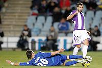 Getafe's Juan Valera (l) and Real Valladolid's Mikel Balenziaga during La Liga match.November 18,2012. (ALTERPHOTOS/Acero)