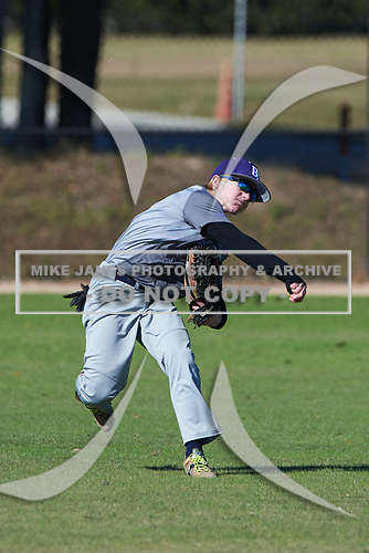 Chase Burke (4) of Minot, North Dakota during the Baseball Factory All-America Pre-Season Rookie Tournament, powered by Under Armour, on January 14, 2018 at Lake Myrtle Sports Complex in Auburndale, Florida.  (Michael Johnson/Four Seam Images)