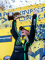 Sep 24, 2017; Mohnton, PA, USA; NHRA top fuel driver Brittany Force celebrates after winning the Dodge Nationals at Maple Grove Raceway. Mandatory Credit: Mark J. Rebilas-USA TODAY Sports