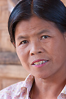 Myanmar, Burma.  Middle-aged Woman, Intha Ethnic Group,  Inle Lake, Shan State.