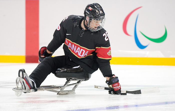 Sochi, RUSSIA - Mar 9 2014 -  Dominic Larocque during Canada vs. Norway at the 2014 Paralympic Winter Games in Sochi, Russia.  (Photo: Matthew Murnaghan/Canadian Paralympic Committee)