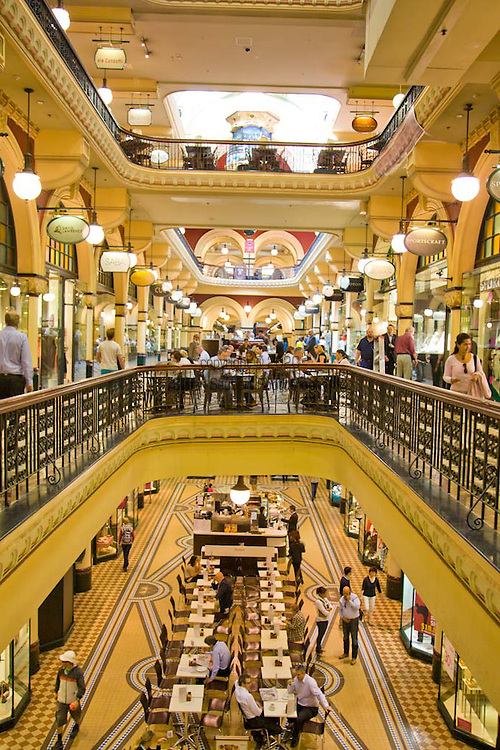 The Queen Victoria Building, or QVB, is a Victorian building in the Sydney central business district, in Australia. The Romanesque Revival architecture building is 190 metres long by 30 wide, and fills an entire city block, bounded by George, Market, York and Druitt Streets. It is currently a shopping centre