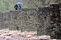 Raised levels of river Usk caused by heavy rain in Crickhowell, south Wales, UK. Saturday 26 October 2019