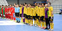 20200129 – Herentals , BELGIUM : both team line ups pictured during a futsal indoor soccer game between Armenia and  the Belgian Futsal Devils of Belgium on the first matchday in group B of the UEFA Futsal Euro 2022 Qualifying or preliminary round , Wednesday 29 th January 2020 at the Sport Vlaanderen sports hall in Herentals , Belgium . PHOTO SPORTPIX.BE | DAVID CATRY