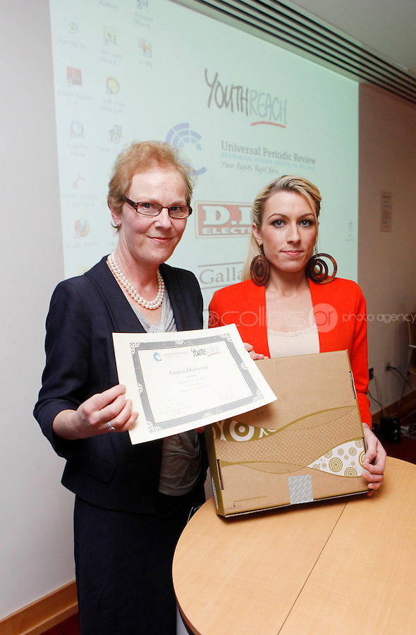 "***NO FEE PIC***.27/09/2011.(L to r) Noeline Blackwell Director of Flac ( Free Legal Advice Centre) & Lauren Donovan from Sherrard St Youth Reach Centre Dublin  who won 1st prize for her Video Montage on Domestic Violence.during a "" Your Rights Right  now""/ Youthreach competition prizegiving award ceremony at the Office of the Ombudsman for Children, Dublin. The competition called on young Youthreach students to express themselves about the important human rights issues affecting their lives..Photo: Gareth Chaney Collins"