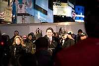 Joel Osteen speaks at a prayer vigil in Times Square for the victims and survivors of the earthquake that devastated Haiti on January 12, 2010.