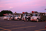 Trucks from Ohio Edison arrive at  Monmouth Park Racetrack in Oceanport, New Jersey on Friday September 2, 2016 to support Jersey Central Power & Light in preparation for Hurricane Hermine.