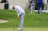 Alvaro Quiros (ESP) putts on the 9th green during Saturday's storm delayed Round 2 of the Andalucia Valderrama Masters 2018 hosted by the Sergio Foundation, held at Real Golf de Valderrama, Sotogrande, San Roque, Spain. 20th October 2018.<br /> Picture: Eoin Clarke | Golffile<br /> <br /> <br /> All photos usage must carry mandatory copyright credit (&copy; Golffile | Eoin Clarke)