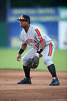 Aberdeen Ironbirds first baseman Ronarsy Ledesma (12) during a game against the Batavia Muckdogs on July 14, 2016 at Dwyer Stadium in Batavia, New York.  Aberdeen defeated Batavia 8-2. (Mike Janes/Four Seam Images)