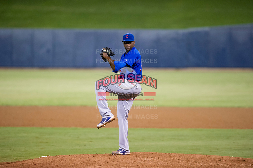 AZL Cubs pitcher Alfredo Colorado (75) delivers a pitch to the plate against the AZL Brewers on August 24, 2017 at Maryvale Baseball Park in Phoenix, Arizona. AZL Cubs defeated the AZL Brewers 9-1. (Zachary Lucy/Four Seam Images)