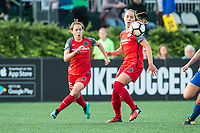 Boston, MA - Sunday September 10, 2017: Meghan Klingenberg and Celeste Boureille during a regular season National Women's Soccer League (NWSL) match between the Boston Breakers and Portland Thorns FC at Jordan Field.