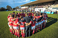 The Canada team huddles after the 2017 International Women's Rugby Series rugby match between England Roses and Canada at Rugby Park in Christchurch, New Zealand on Tuesday, 13 June 2017. Photo: Dave Lintott / lintottphoto.co.nz