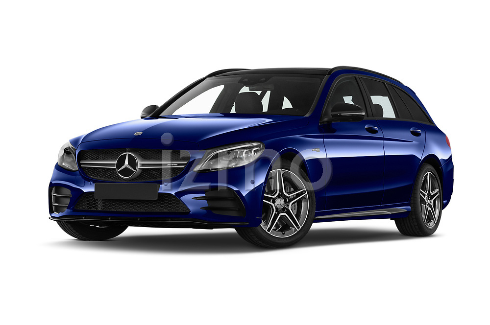 Stock pictures of low aggressive front three quarter view of a 2020 Mercedes Benz C Class Break 43 AMG 5 Door Wagon