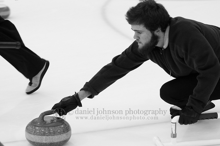 25 January 2009 -- Aksarben Curling Club. Members of the Aksarben Curling Club participate in league play at the Moylan IcePlex in Tranquility Park on Sunday night in Omaha, Neb.   PHOTO/ Daniel Johnson (Copyright 2008 Daniel Johnson)