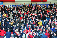 Lincoln City fans celebrate promotion<br /> <br /> Photographer Andrew Vaughan/CameraSport<br /> <br /> The EFL Sky Bet League Two - Lincoln City v Cheltenham Town - Saturday 13th April 2019 - Sincil Bank - Lincoln<br /> <br /> World Copyright © 2019 CameraSport. All rights reserved. 43 Linden Ave. Countesthorpe. Leicester. England. LE8 5PG - Tel: +44 (0) 116 277 4147 - admin@camerasport.com - www.camerasport.com
