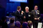 UTRECHT -   Jeroen Stevens (NGF), Jan Kees van der Velden  (SANOMA Golf) , Frank Kirsten (NPGA), A tribe called Golf, de kracht van de connectie. Nationaal Golf Congres van de NVG 2014 , Nederlandse Vereniging Golfbranche. COPYRIGHT KOEN SUYK