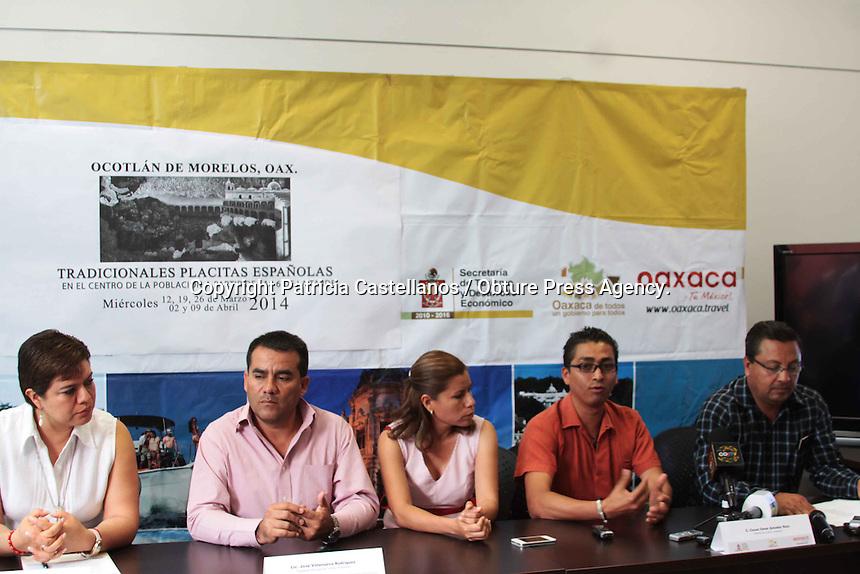 Oaxaca de Juárez. 12 de marzo de 2014.- En conferencia de prensa, autoridades del municipio de Ocotlán de Morelos en coordinación de la Secretaría de Turismo y Desarrollo Económico (STyDE), dieron a conocer la celebración próxima de las tradicionales Placitas Españolas  2014, mismas que se llevaran a cabo los días 12,19 y 26 de marzo y 2 y 9 de abril.<br /> <br />  <br /> <br /> Dicha celebración llena de gastronomía y música, tiene la finalidad de fomentar la cultura y las tradiciones de este municipio, el cual a partir de este miércoles se llenara de color y algarabía.<br /> <br /> <br /> Foto: Patricia Castellanos / Obture Press Agency.