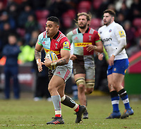 Francis Saili of Harlequins in possession. Aviva Premiership match, between Harlequins and Bath Rugby on March 2, 2018 at the Twickenham Stoop in London, England. Photo by: Patrick Khachfe / Onside Images