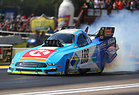 Aug 19, 2017; Brainerd, MN, USA; NHRA funny car driver Tim Wilkerson during qualifying for the Lucas Oil Nationals at Brainerd International Raceway. Mandatory Credit: Mark J. Rebilas-USA TODAY Sports