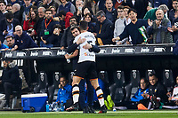 14th February 2020; Mestalla, Valencia, Spain; La Liga Football,Valencia versus Atletico Madrid; Garbiel Paulista of Valencia CF celebrates with Valencia CF Head coach Celades after scoring the equalizer goal for his team 1-1 in minute 40'