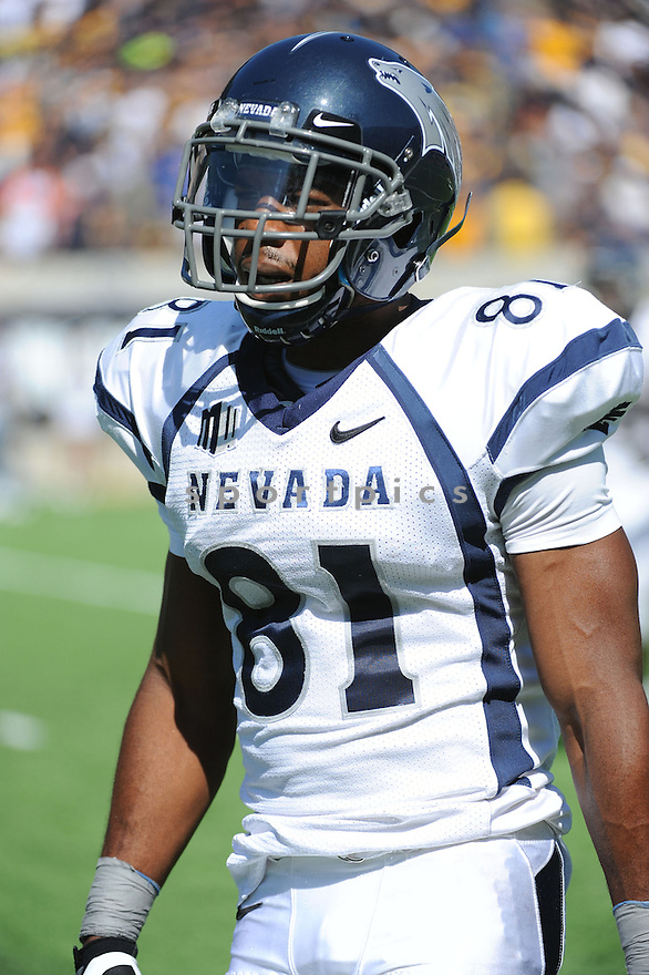 Nevada Wolf Pack Aaron Bradley (81) in action during a game against the California Golden Bears on September 1, 2012 at Memorial Stadium in Berkeley, CA. Nevada beat Cal 31-24.