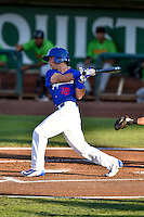 Brandon Montgomery (18) of the Ogden Raptors at bat against the Great Falls Voyagers in Pioneer League action at Lindquist Field on August 16, 2016 in Ogden, Utah. Ogden defeated Great Falls 2-1. (Stephen Smith/Four Seam Images)