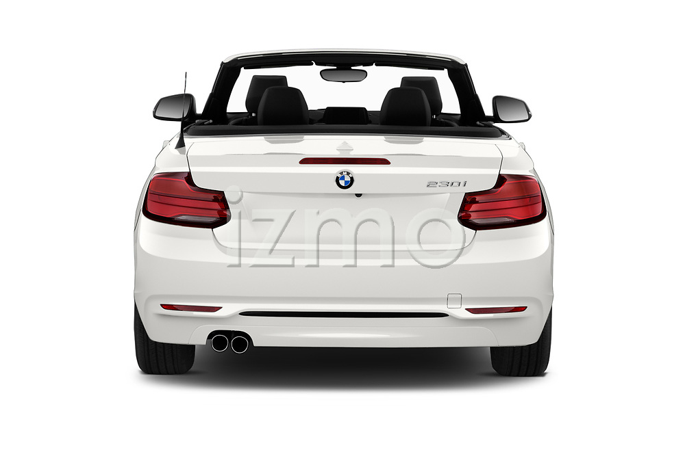 Straight rear view of a 2018 BMW 2 Series Sport 2 Door Convertible stock images