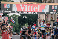 finish sprint with Peter Sagan (SVK/Bora-Hansgrohe) victoriously beating Michael Matthews (AUS/Sunweb) & Daniel Martin (IRE/QuickStep Floors) to the line<br /> <br /> 104th Tour de France 2017<br /> Stage 3 - Verviers › Longwy (202km)