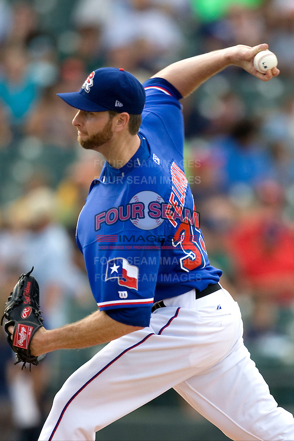 Round Rock Express pitcher Scott Feldman #39 delivers during a game against the Memphis Redbirds at the Dell Diamond on July 10, 2011in Round Rock, Texas.  Memphis defeated Round Rock 10-9.  (Andrew Woolley / Four Seam Images)
