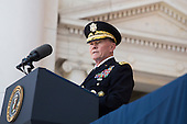 United States Army General Martin Dempsey, Chairman of the Joint Chiefs of Staff, delivers remarks during a Memorial Day event at Arlington National Cemetery, May 26, 2014 in Arlington, Virginia. President Obama returned to Washington Monday morning after a surprise visit to Afghanistan to visit U.S. troops at Bagram Air Field. <br /> Credit: Drew Angerer / Pool via CNP