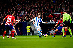 David Zurutuza Veillet of Real Sociedad (C) in action during the La Liga 2018-19 match between Atletico de Madrid and Real Sociedad at Wanda Metropolitano on October 27 2018 in Madrid, Spain.  Photo by Diego Souto / Power Sport Images