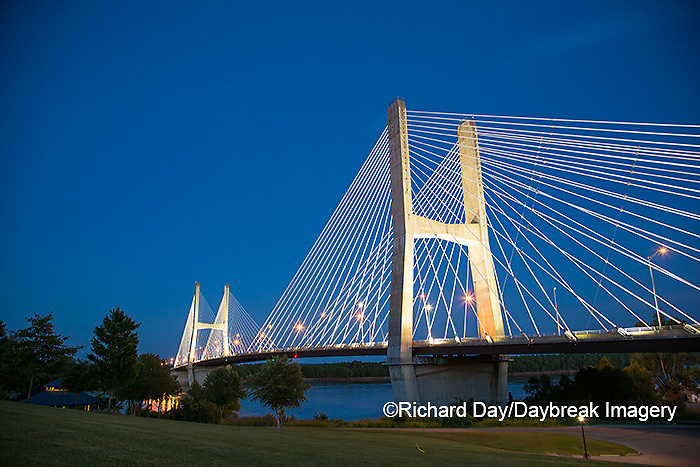 65095-02502 Bill Emerson Memorial Bridge at dusk-night over Mississippi River Cape Girardeau, MO