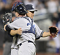(L-R) Masahiro Tanaka, Brian McCann (Yankees),<br /> MAY 14, 2014 - MLB :<br /> Pitcher Masahiro Tanaka of the New York Yankees celebrates his sixth win with his first shutout in the MLB with catcher Brian McCann after the Major League Baseball game against the New York Mets at Citi Field in Flushing, New York, United States. (Photo by AFLO)