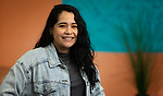 Viviana Favela, student in the Art, Media and Design department of the College of Liberal Arts and Social Sciences, pictured March 14, 2019. (DePaul University/Jeff Carrion)
