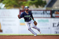 Vermont Lake Monsters second baseman Jesus Lopez (2) during a game against the Batavia Muckdogs August 9, 2015 at Dwyer Stadium in Batavia, New York.  Vermont defeated Batavia 11-5.  (Mike Janes/Four Seam Images)