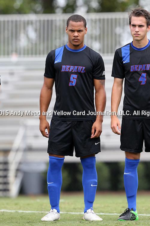 30 August 2015: DePaul's Jalen Harvey (BER). The Duke University Blue Devils hosted the DePaul University Blue Demons at Koskinen Stadium in Durham, NC in a 2015 NCAA Division I Men's Soccer match.