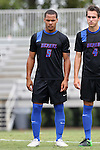 30 August 2015: DePaul's Jalen Harvey (BER). The Duke University Blue Devils hosted the DePaul University Blue Demons at Koskinen Stadium in Durham, NC in a 2015 NCAA Division I Men's Soccer match.
