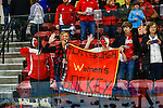 19 MAR 2016: Plattsburgh fans show their support during the Division lll Women's Ice Hockey Championship, held at the Ronald B. Stafford Ice Arena in Plattsburgh, NY. Plattsburgh defeated Wis.-River Falls 5-1 for the national title. Plattsburgh fans hold a banner to cheer their winning team. Nancie Battaglia/NCAA Photos